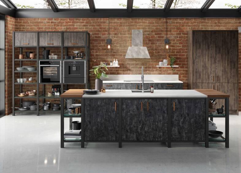 Autograph Elements in Flamed Oak and Swiss Oak kitchen