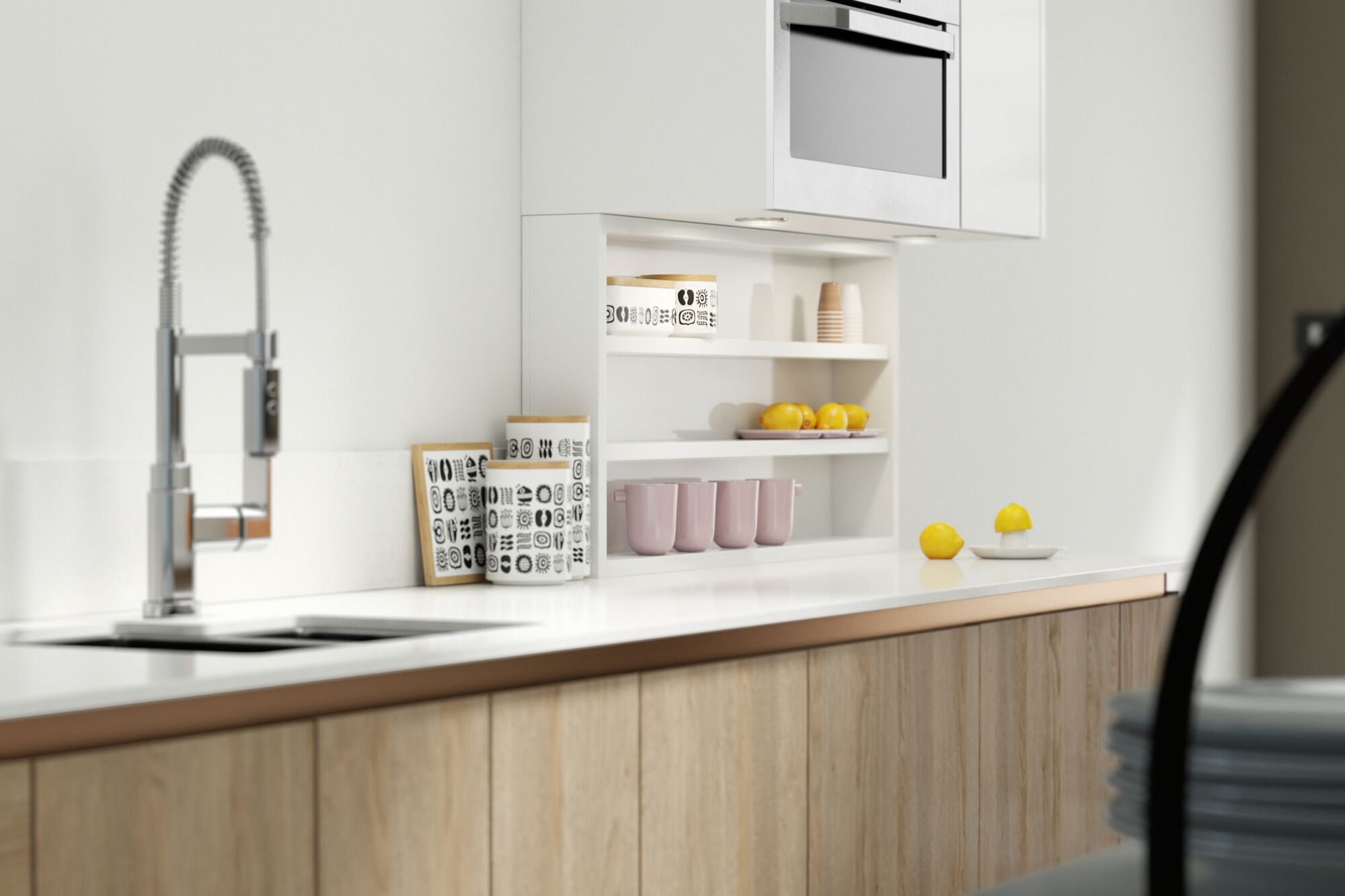 Milano Elements Kitchen in Oak Lodge and Super White | Wren Kitchens