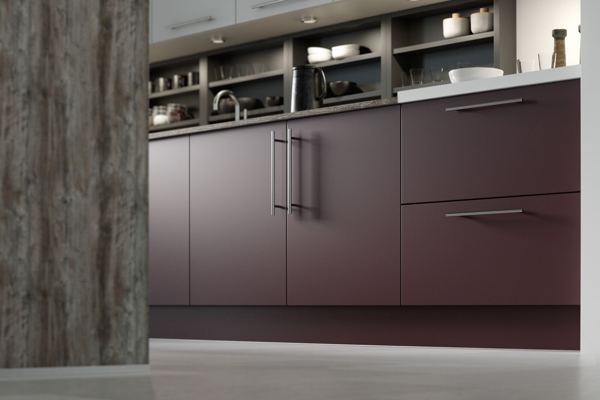 Autograph Elements in Ocean Cypress and Aubergine kitchen