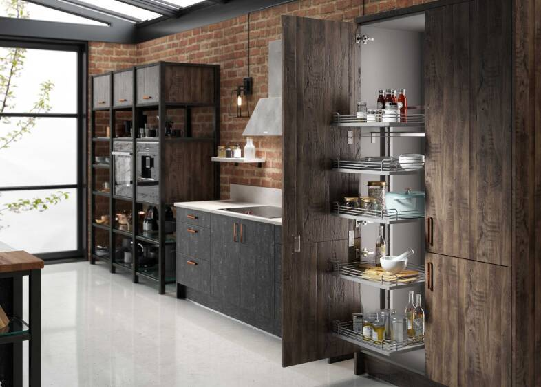 Autograph Elements Kitchen in Flamed Oak & Swiss Oak