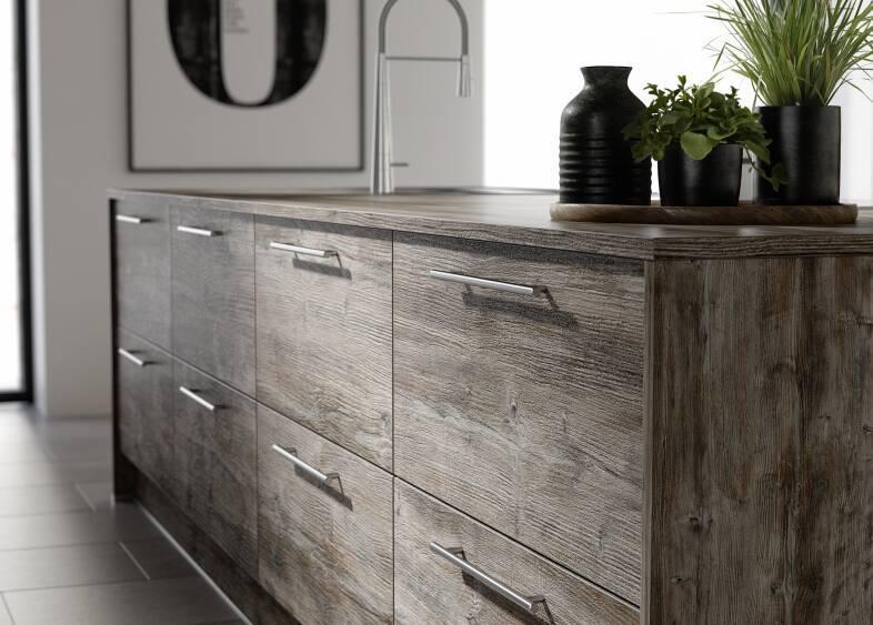 Autograph Elements Kitchen in Ocean Cypress & Aubergine