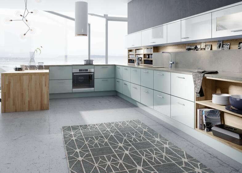 Autograph Pacrylic in Blue Quartz & White kitchen