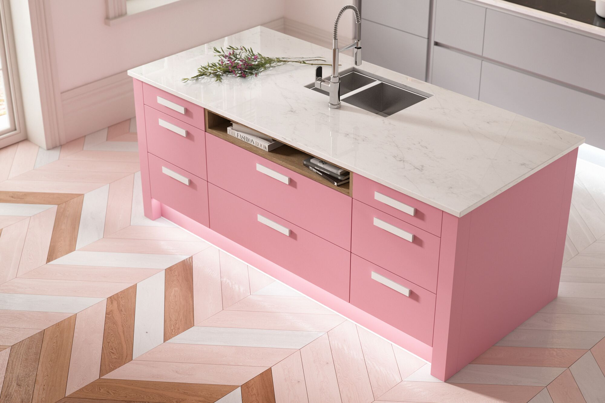 contour baker miller pink wren kitchens