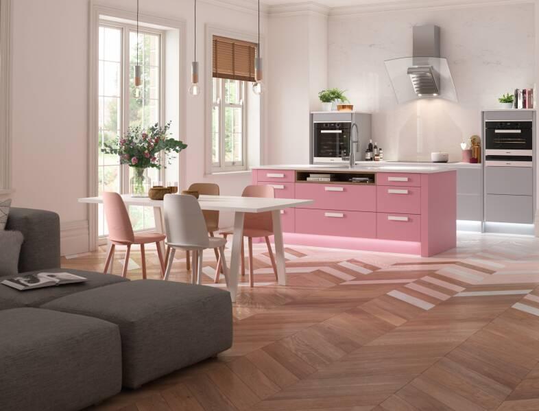 Contour Kitchen in Baker Miller Pink