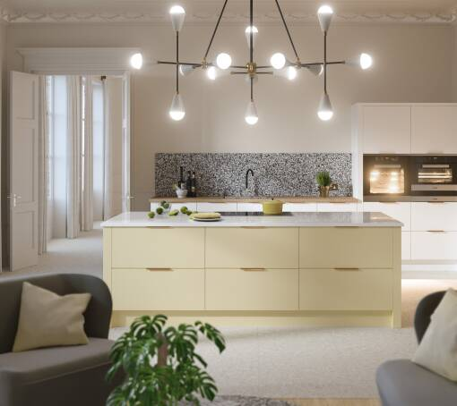 Contour Ermine Pina Colada Matt (White) kitchen