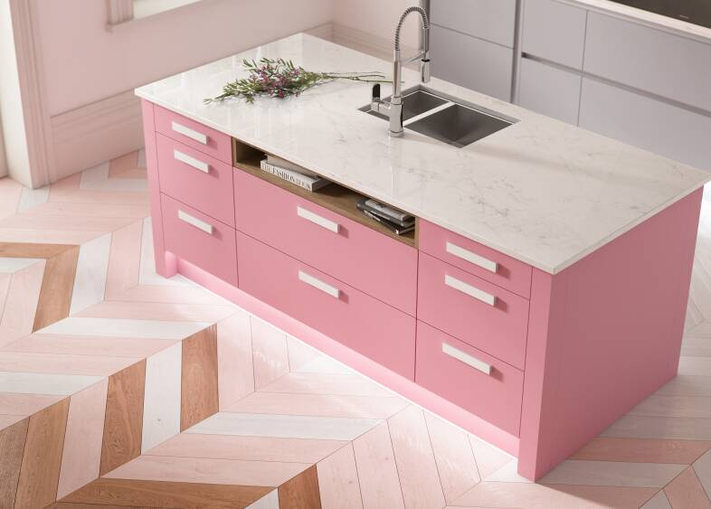 Contour Kitchen in Baker Miller Pink