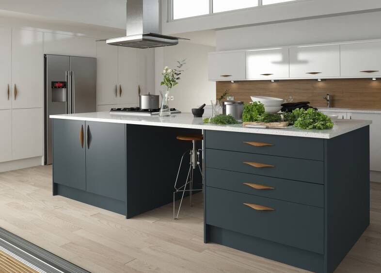 Contour kitchen in baltic and linen wren kitchens for Kitchen 0 finance b q