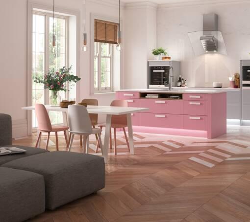 Contour (White) Baker Miller Pink Matt kitchen