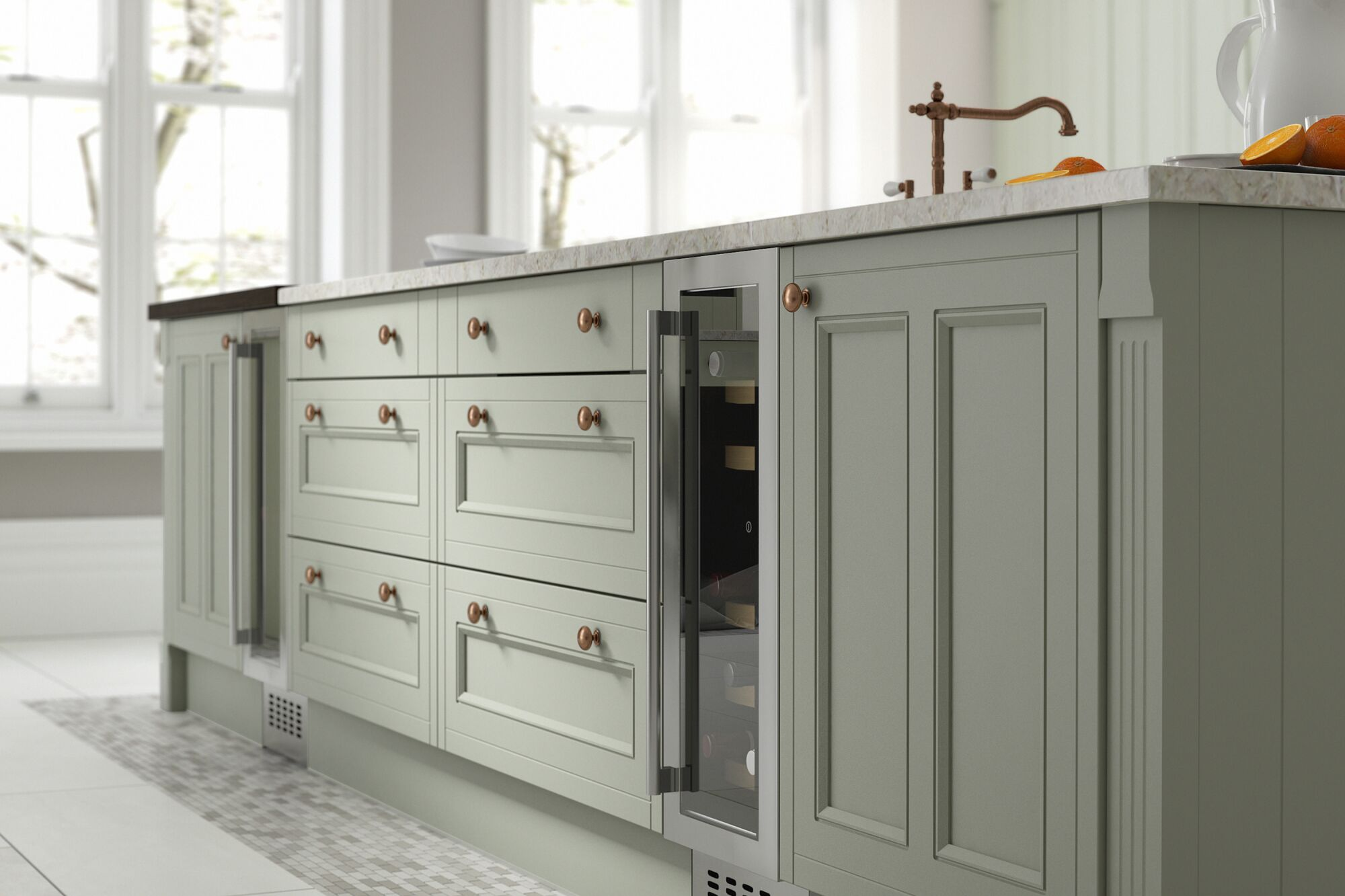 Country Kitchen in Drawing Room Green