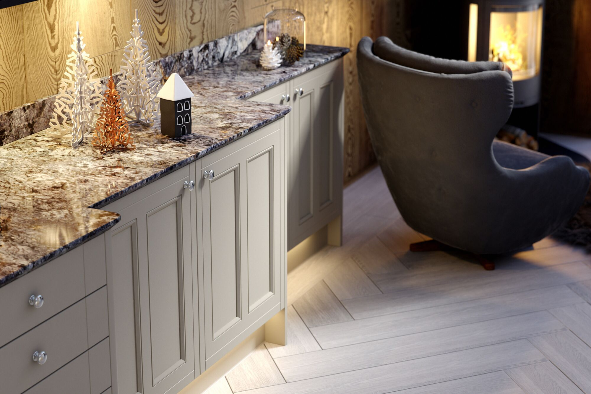 Country Kitchen in Nimbus and White