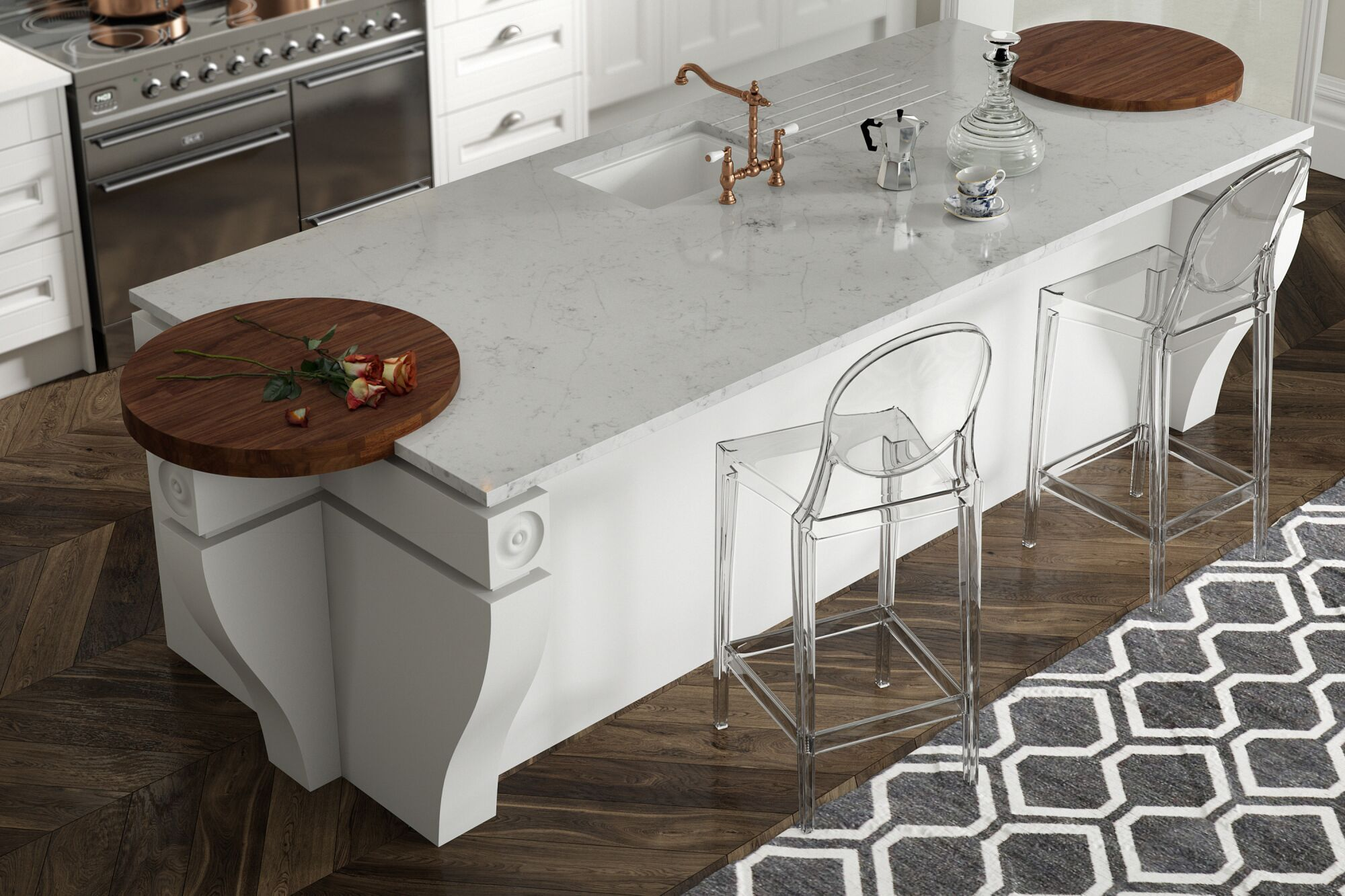 Country Kitchen in Super White