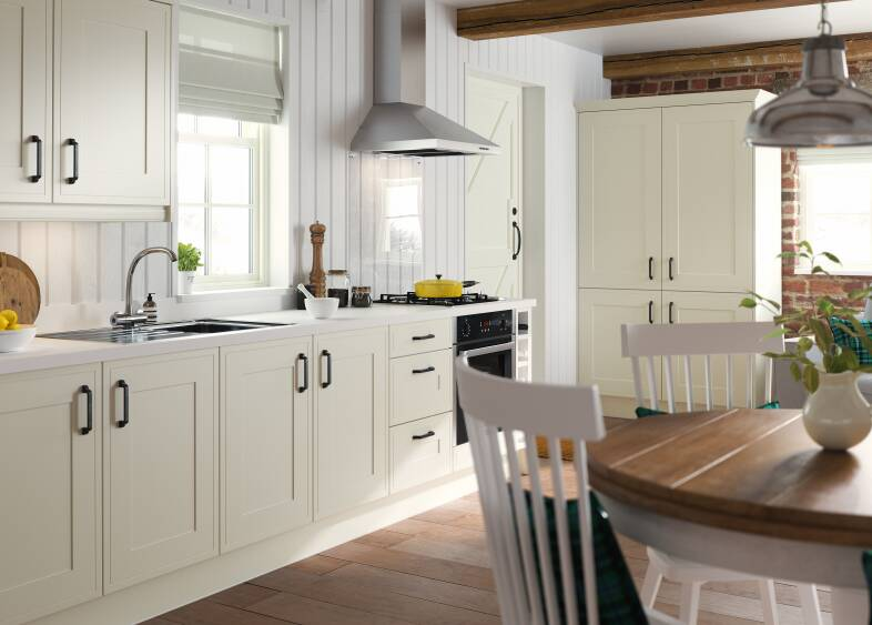 Edwardian kitchen in cream wren kitchens for Edwardian kitchen