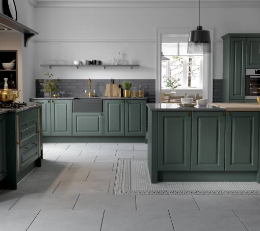 Georgian Ermine Forest Green Matt (White) kitchen
