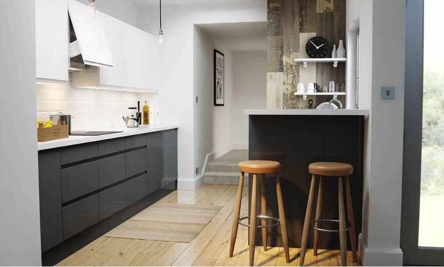 Handleless Charcoal Gloss Kitchen