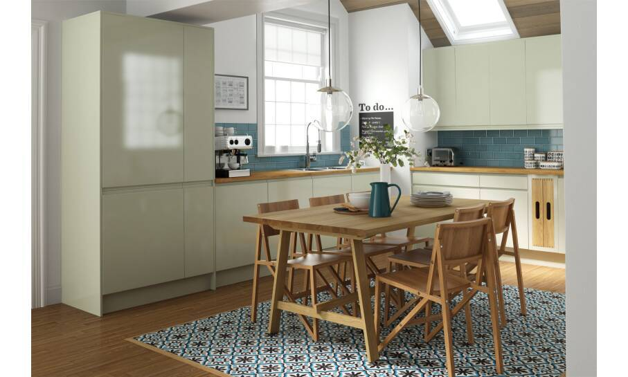 Handleless Drawing Room Green Gloss Kitchen