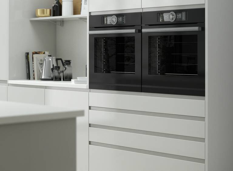 Handleless Kitchen In Pebble Wren