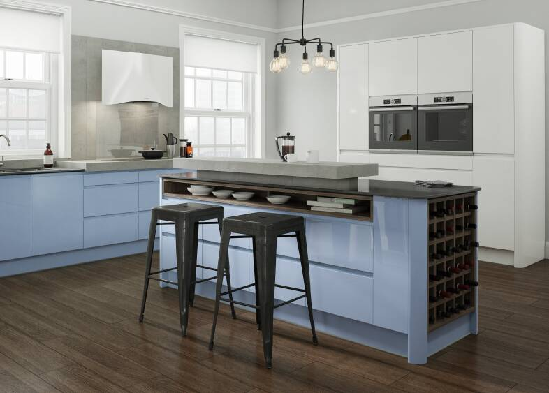 Handleless Kitchen in Periwinkle and White