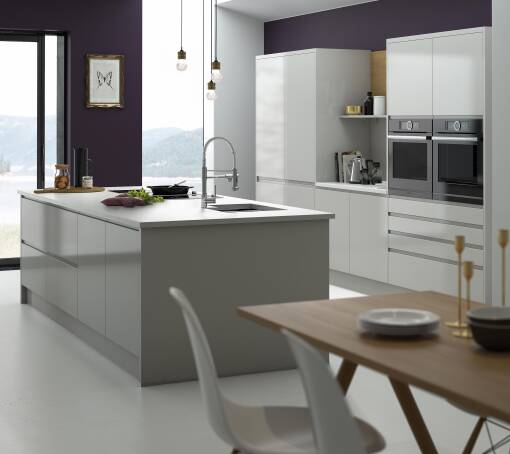 White & Grey Gloss Kitchen Units