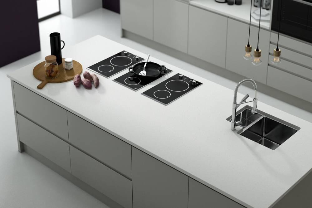 White Gloss Handleless Kitchen Units