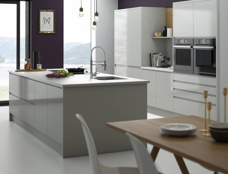 handleless kitchen in pebble - Modern Kitchens