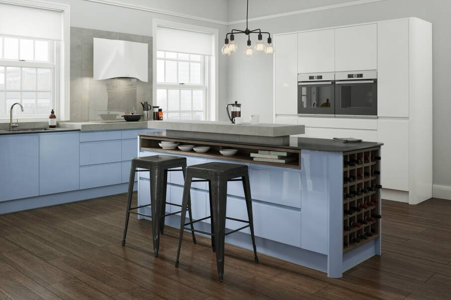 Handleless Periwinkle Gloss Kitchen