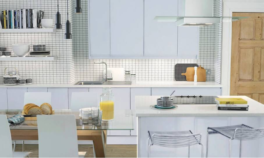 Handleless Sea Foam Gloss Kitchen