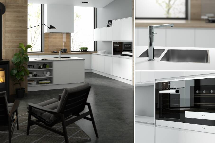 Handleless Super White Matt Kitchen