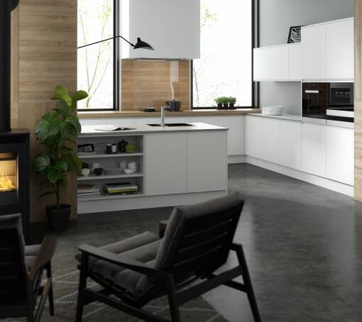 Handleless Super White Matt (White) kitchen
