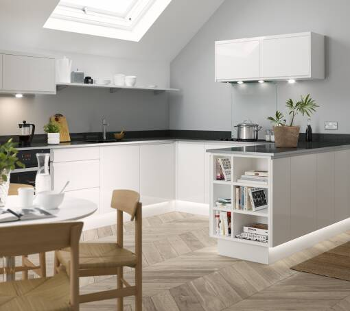 Best Modern Small Kitchen Design: White & Grey Gloss Kitchen Units