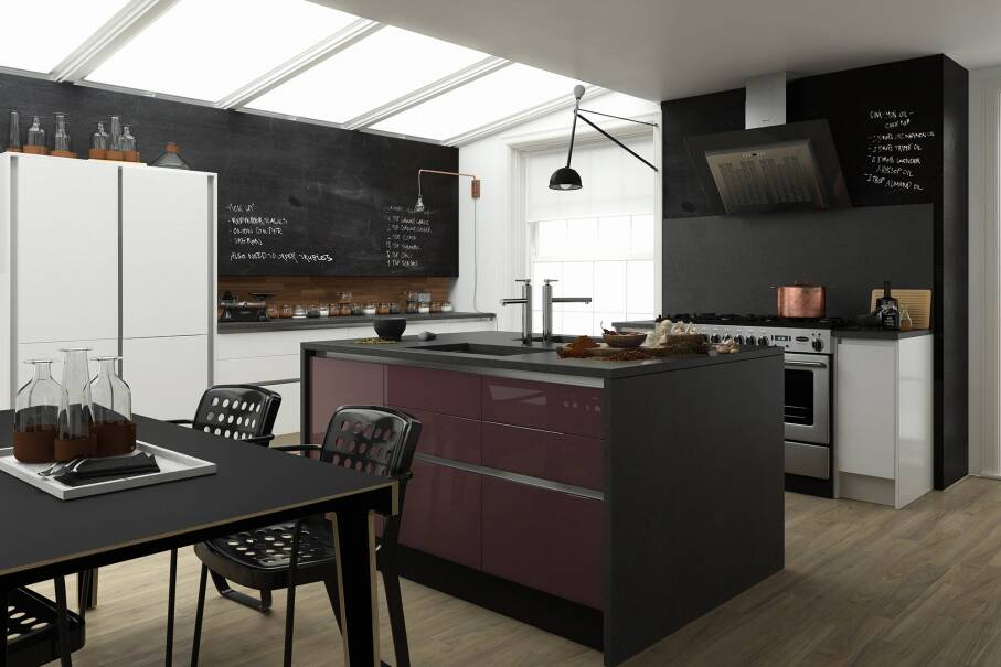 Milano Contour Aubergine Gloss Kitchen