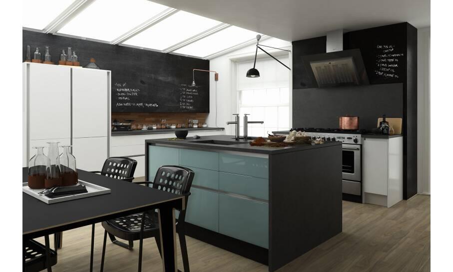 Milano Contour China Blue Gloss Kitchen
