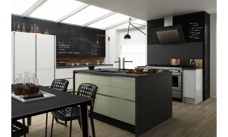 Milano Contour Drawing Room Green Gloss Kitchen