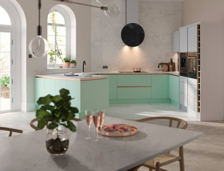 Milano Contour Ermine in Apple Fizz kitchen
