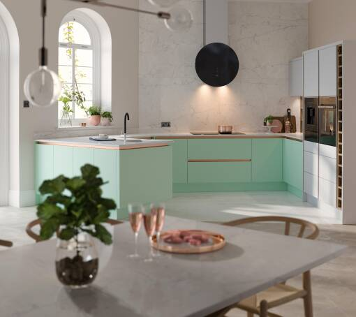 Milano Contour Ermine Apple Fizz Matt (White) kitchen