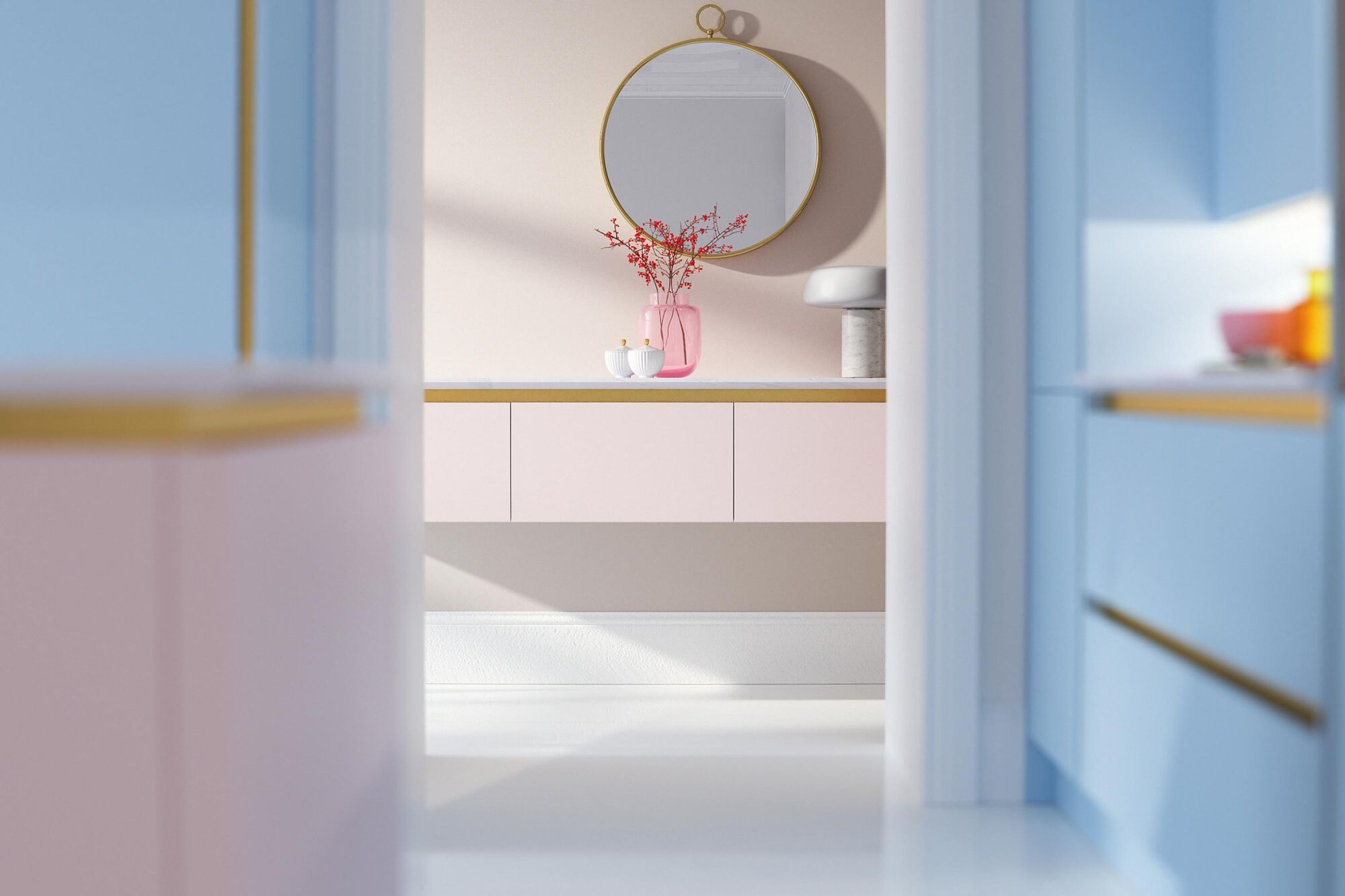 Milano Contour Ermine in Rose Matt kitchen