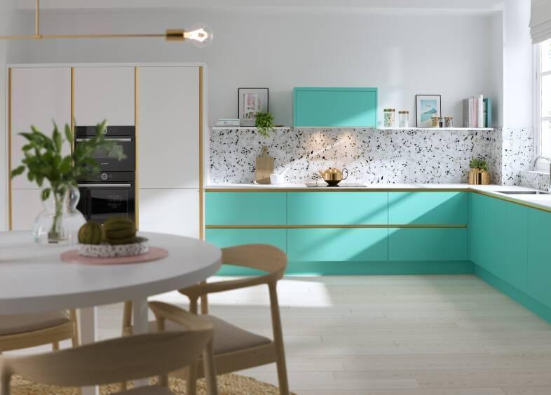 Milano Contour Ermine in Spearmint kitchen