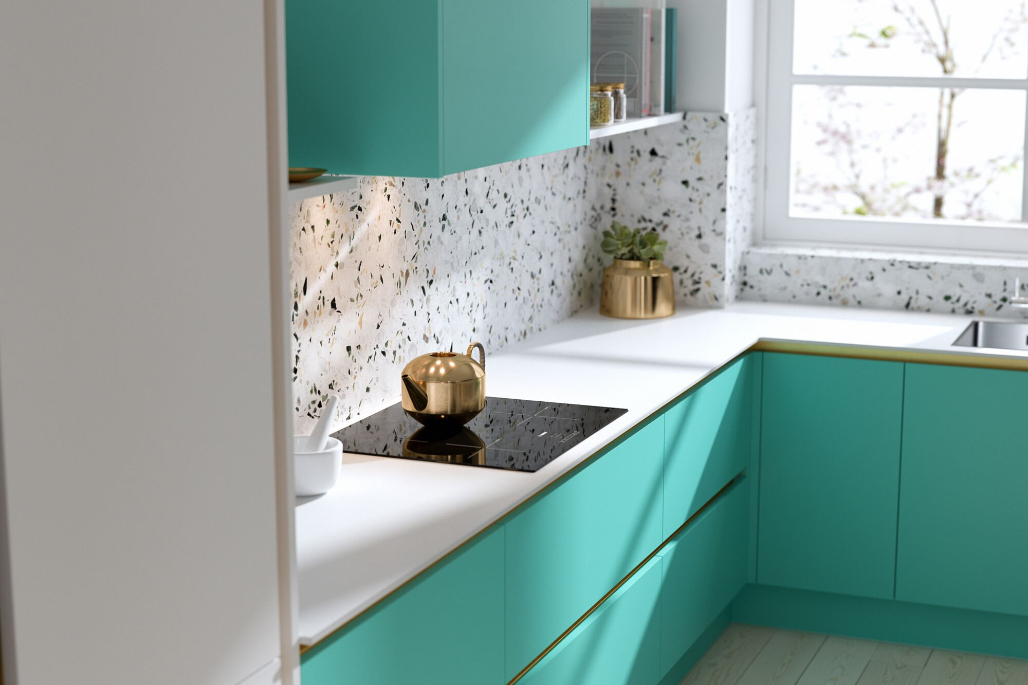 Milano Contour Ermine in Spearmint | Wren Kitchens