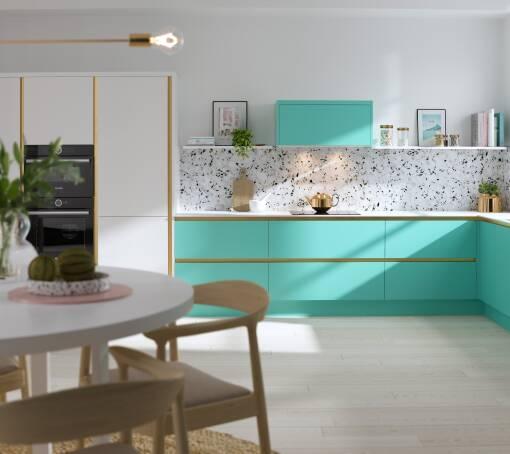 Milano Contour Ermine (White) Spearmint Matt kitchen