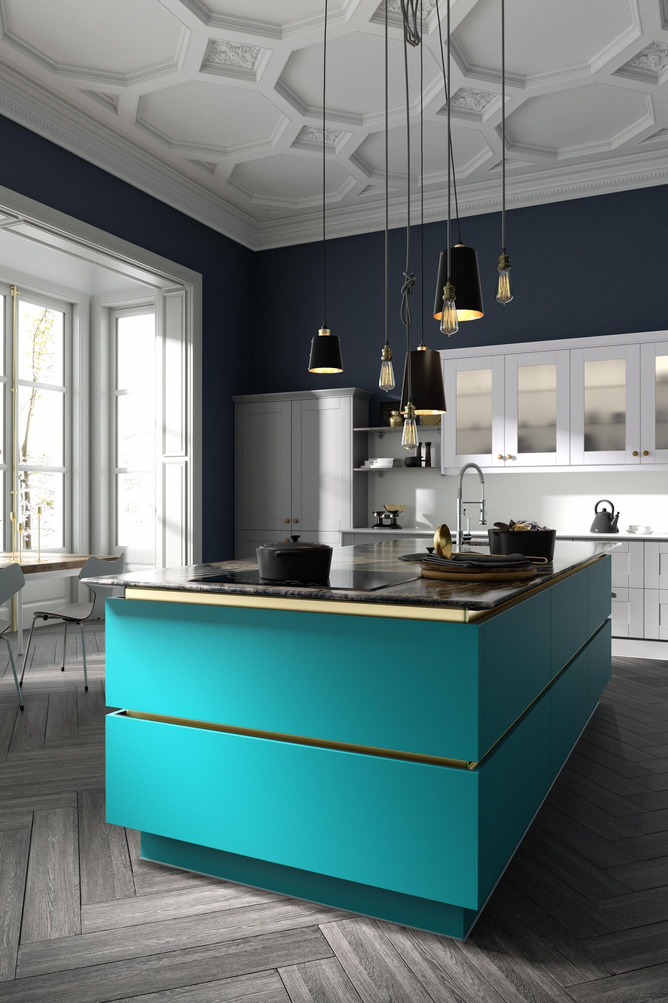 Milano Contour Kitchen in Lagoon and White Shaker