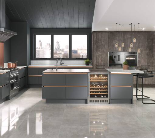 Milano Contour (White) Castle Rock Matt kitchen
