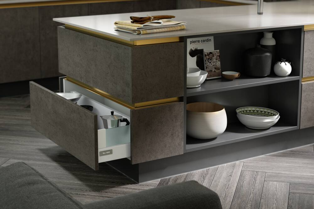 Milano Elements Kitchen In Artisan Grey And Dark Concrete