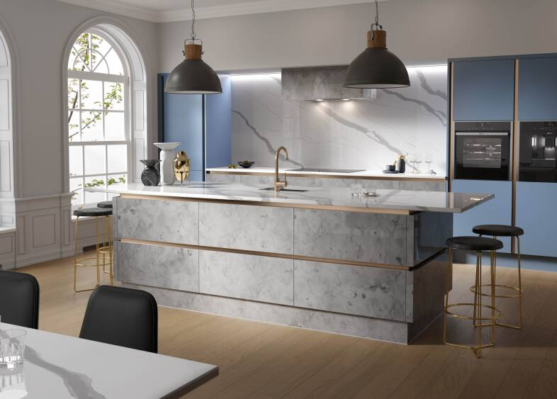 Milano Elements in Metallic Silver and Smoke Blue kitchen