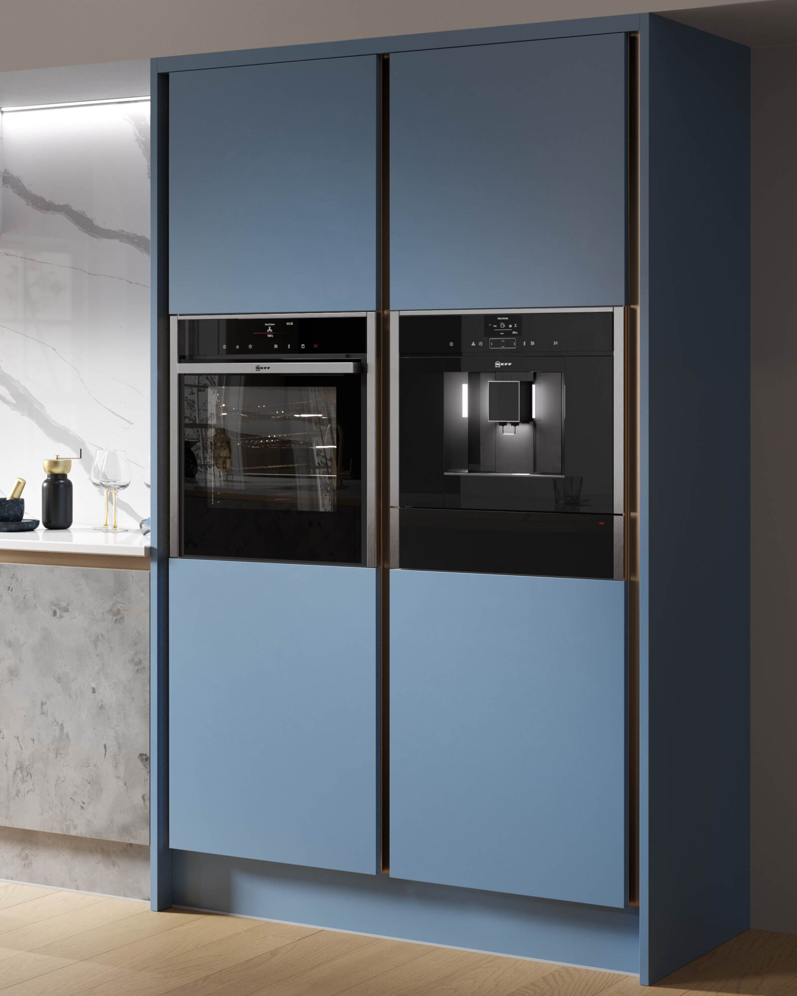 Milano Elements Kitchen in Metallic Silver & Smoke Blue