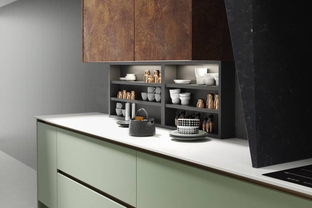 Milano Elements Kitchen In Copper Slate And Roman Leaf