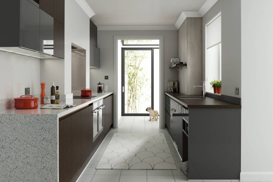 Milano Stainless Charcoal Gloss Kitchen