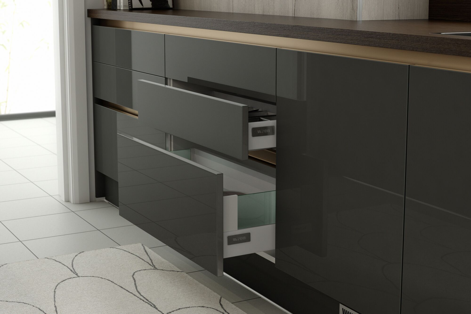 Milano Stainless Steel in Charcoal and Smoked Oak kitchen