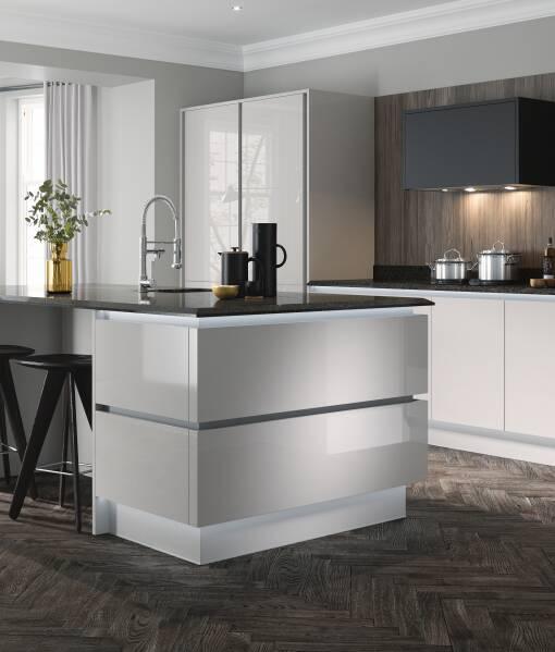High Gloss Kitchens White Grey Gloss Kitchen Units Wren Kitchens