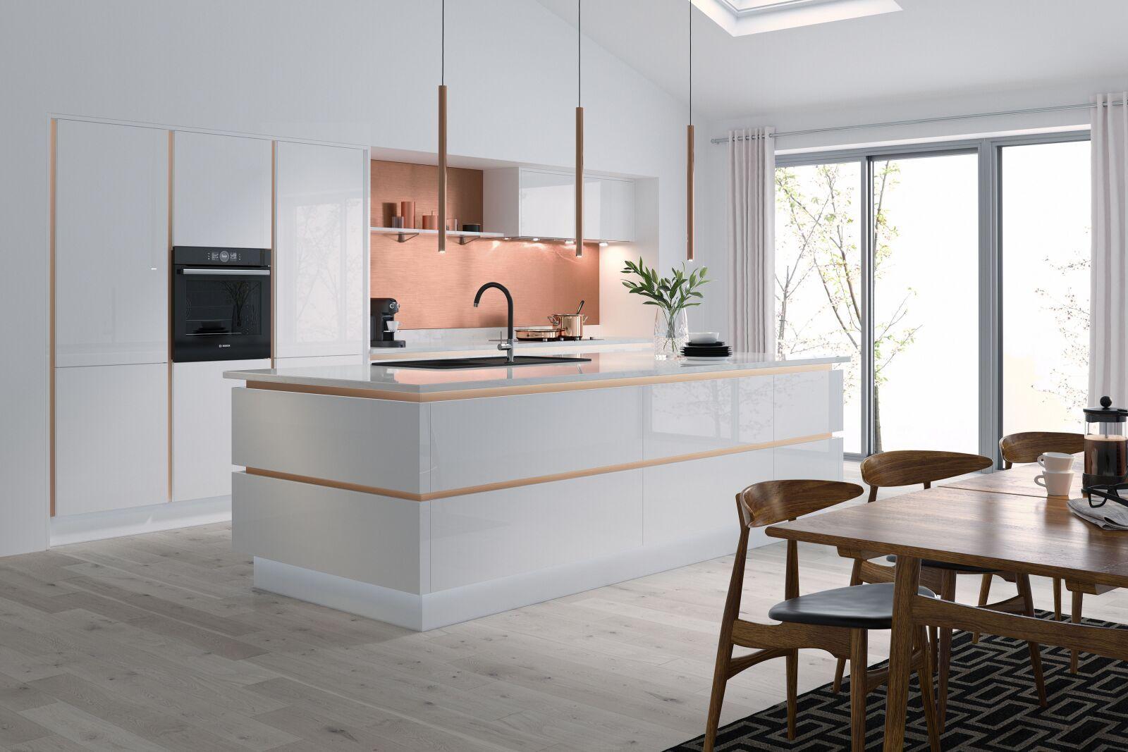 Milano Ultra In Bianco White Handleless Kitchen Wren Kitchens