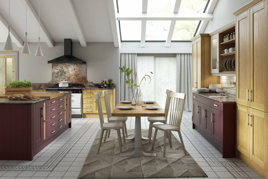 Shaker Aubergine Gloss Kitchen