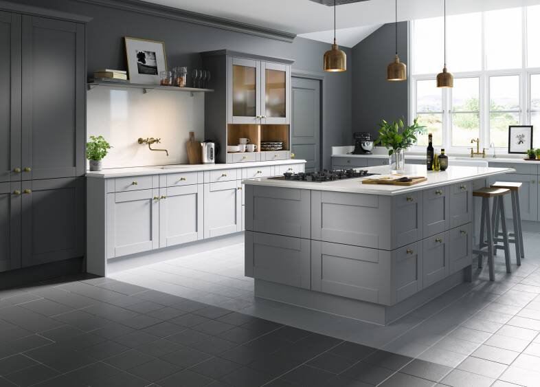 Slate Tiles Grey Shaker Kitchen